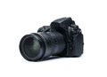 DSLR camera on white Stock Photo