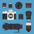 DSLR digital camera accessories. Royalty Free Stock Photo