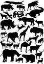 Duże coll sylwetki zwierząt Obrazy Royalty Free