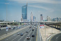 Duabi city highway in the middle the modern of many car lanes going to the downtown Royalty Free Stock Image