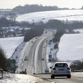 Dual carriageway highway during winter in england uk a trunk road southbound looking towards east ilsey close to the berkshire Royalty Free Stock Photo
