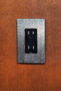 Dual Electrical Outlet on Wooden Wall Stock Photography