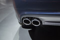 Dual exhaust detail of a heavy sports Royalty Free Stock Images