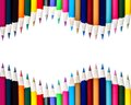 Dual rows of color pencils background isolated on white Stock Image