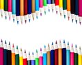 Dual rows of color pencils background isolated on white Royalty Free Stock Image