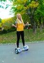 Dual wheel self balancing electric smart scooter skateboard Stock Photos