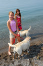 Duas meninas que jogam com cães Fotografia de Stock