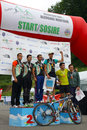 Duathlon advanced relay men race winners at duatlon tara barsei event in rasnov romania mtb and running stages Stock Photography