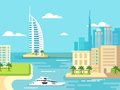 Dubai City Beach Skyline Royalty Free Stock Photo