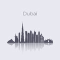 Dubai city modern buildings silhouette vector skyline. Uae emirates landmark cityscape Royalty Free Stock Photo