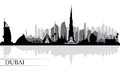 Dubai city skyline silhouette background Royalty Free Stock Photo