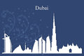 Dubai city skyline silhouette on blue background Royalty Free Stock Photo