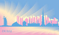 Dubai city skyline vector silhouette illustration Stock Photography