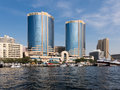 Dubai Creek with Deira Twin Towers Stock Image