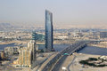 Dubai D1 Tower Business Bay Bridge aerial view photography Royalty Free Stock Photo