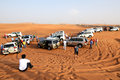 The Dubai desert trip in off-road car is major tourists attraction Royalty Free Stock Photo