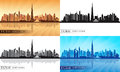 Dubai Downtown City skyline silhouettes Set Royalty Free Stock Photo