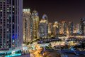 Dubai downtown night scene Royalty Free Stock Photo