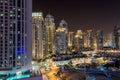 Dubai downtown night scene Royalty Free Stock Photo