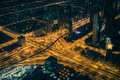 Dubai downtown night scene with city lights Royalty Free Stock Photo