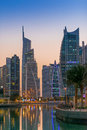 Dubai downtown night scene, Jumeirah Lake Towers Royalty Free Stock Photo