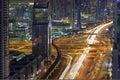 Dubai Downtown Rush Hour Aerial Night View Royalty Free Stock Photo