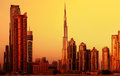 Dubai downtown on sunset Royalty Free Stock Photos