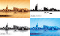 Dubai Jumeirah City skyline silhouettes Set Royalty Free Stock Photo
