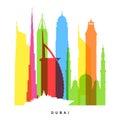 Dubai landmarks bright collage vector illustration Royalty Free Stock Photo