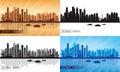 Dubai Marina City skyline silhouettes Set Royalty Free Stock Photo