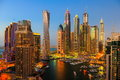 Dubai Marina at night from the top, on Royalty Free Stock Photo