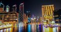 Dubai marina at night uae dusk Stock Photos