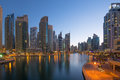 Dubai Marina skyscraper skyscrapers twilight night blue hour Royalty Free Stock Photo