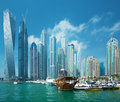 Dubai Marina skyscrapers and port with luxury yachts,Dubai,United Arab Emirates Royalty Free Stock Photo