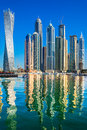 Dubai marina skyscrapers in uae Stock Images