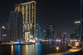 Dubai marina a view of uae photo taken at night Stock Photo