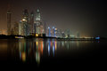 Dubai Marina Waterfront at night June 2012 Royalty Free Stock Photos