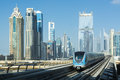 Dubai metro in arabic مترو دبي is the world s longest fully automated network km uae united arab emirates Stock Image