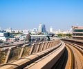 Dubai metro day view of the city uae Stock Photo