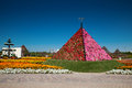 Dubai miracle gardens nov uae flower pyramid in a flower park with more than million flowers in it Stock Photo