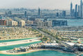Dubai Palm Jumeirah and cityscape from helicopter Royalty Free Stock Photo