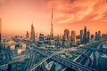 Dubai skyline with beautiful city close to it's busiest highway on traffic Royalty Free Stock Photo