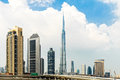 Dubai skyline with the burj khalifa uae Royalty Free Stock Photos