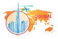 Dubai Skyline Panorama Over World Map, Modern Building Cityscape Business Travel And Tourism Concept