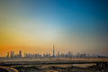 Dubai skyline at sunset showing burj khalifah tower Royalty Free Stock Photography