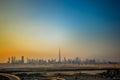 Dubai Skyline at sunset Royalty Free Stock Photo