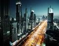 Dubai skyline in sunset time uae united arab emirates Royalty Free Stock Photography