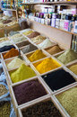 Dubai spices suk dried herbs flowers in the street shop Royalty Free Stock Images