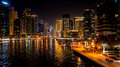 Dubai. In the summer of 2016. Beautiful night lights of ultramodern Dubai Marina on the shores of the Arabian Gulf. Royalty Free Stock Photo