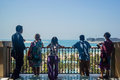Dubai. Summer 2016. People look at the expanse of the Gulf from the balcony of the Four Seasons hotel Jumeirah. Royalty Free Stock Photo